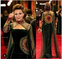 Retro High Collar Fashion Blackish Green Evening Dresses Floor Length Court Train Beaded Wraps Prom Dresses