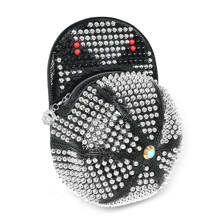 Sacs à dos de monstre de Rivet de concepteur de busserole sac à dos de forme de chapeau en cuir fait main sacs de strass de diamant de Mochila de Style Punk-in Sacs à dos from Baggages et sacs    3