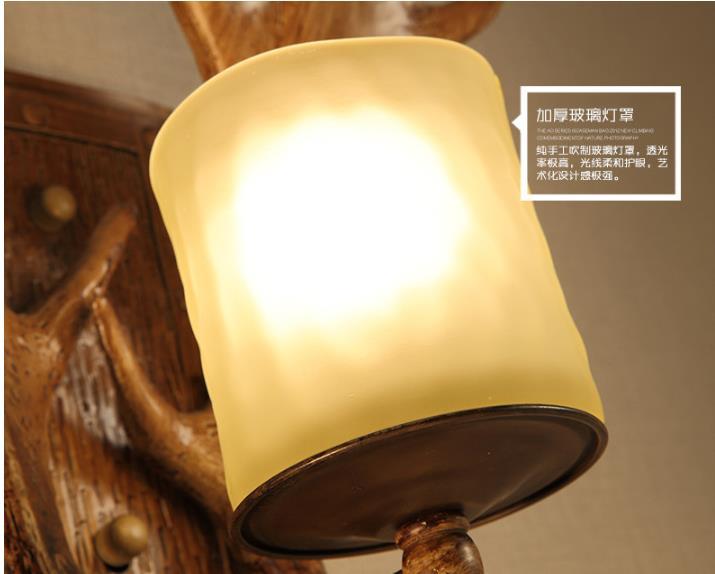 Retro resina antler corna applique da parete lampade da parete