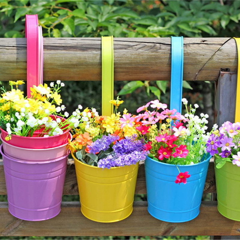 Flower pot hanging balcony garden plant planter home for Colorful hanging planters