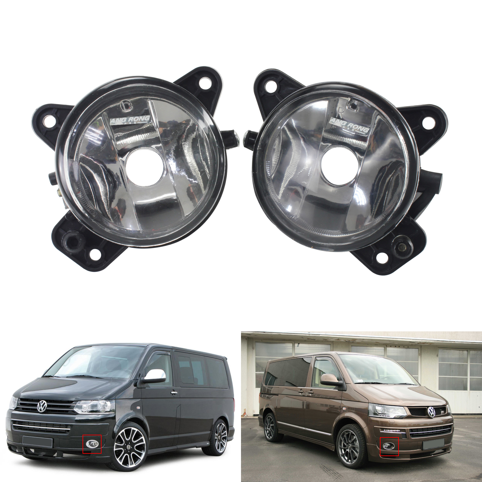 ANGRONG 2x Front Fog Light lamps OEM Replacement Left & Right No Bulb For <font><b>VW</b></font> Transporter <font><b>T5</b></font> image