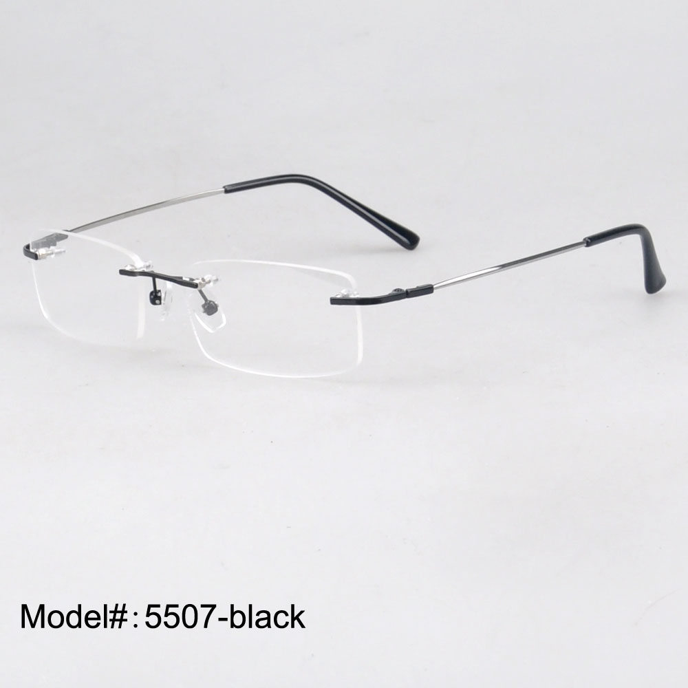 Magic Jing 5507 Whole sales 50 piece/lot   rimless memory metal  hinged optical  frames eyeglasses spectacles