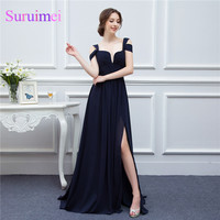 High Quality Sexy Navy Blue Low Cut High Slit Chiffon Semi Formal Long Event Dress Evening