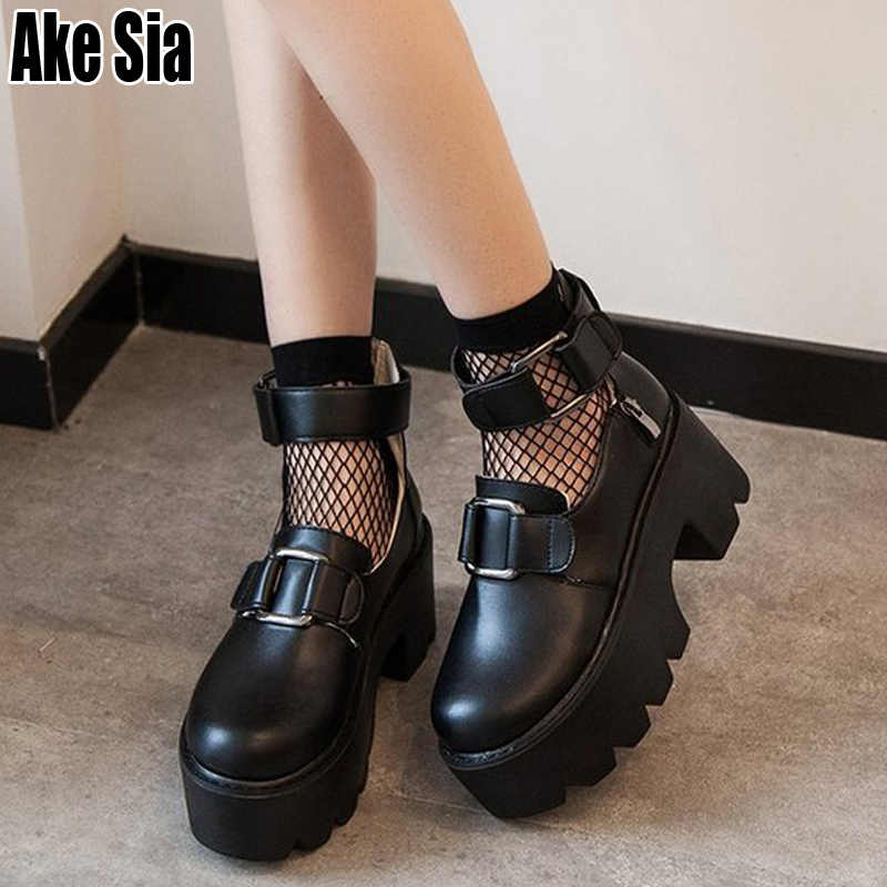 New Stylish Round Toe Hollow Out Women Female High Chunky Heels Flange Bottom Casual Ankle Buckle Pumps Sandals Boots Shoes A499