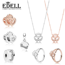 b54927935 EDELL 100% 925 Sterling Silver ROSE INTERLOCKED CROWNED HEARTS RING NECKLACE  Beading CHARM DAZZLING CROWN