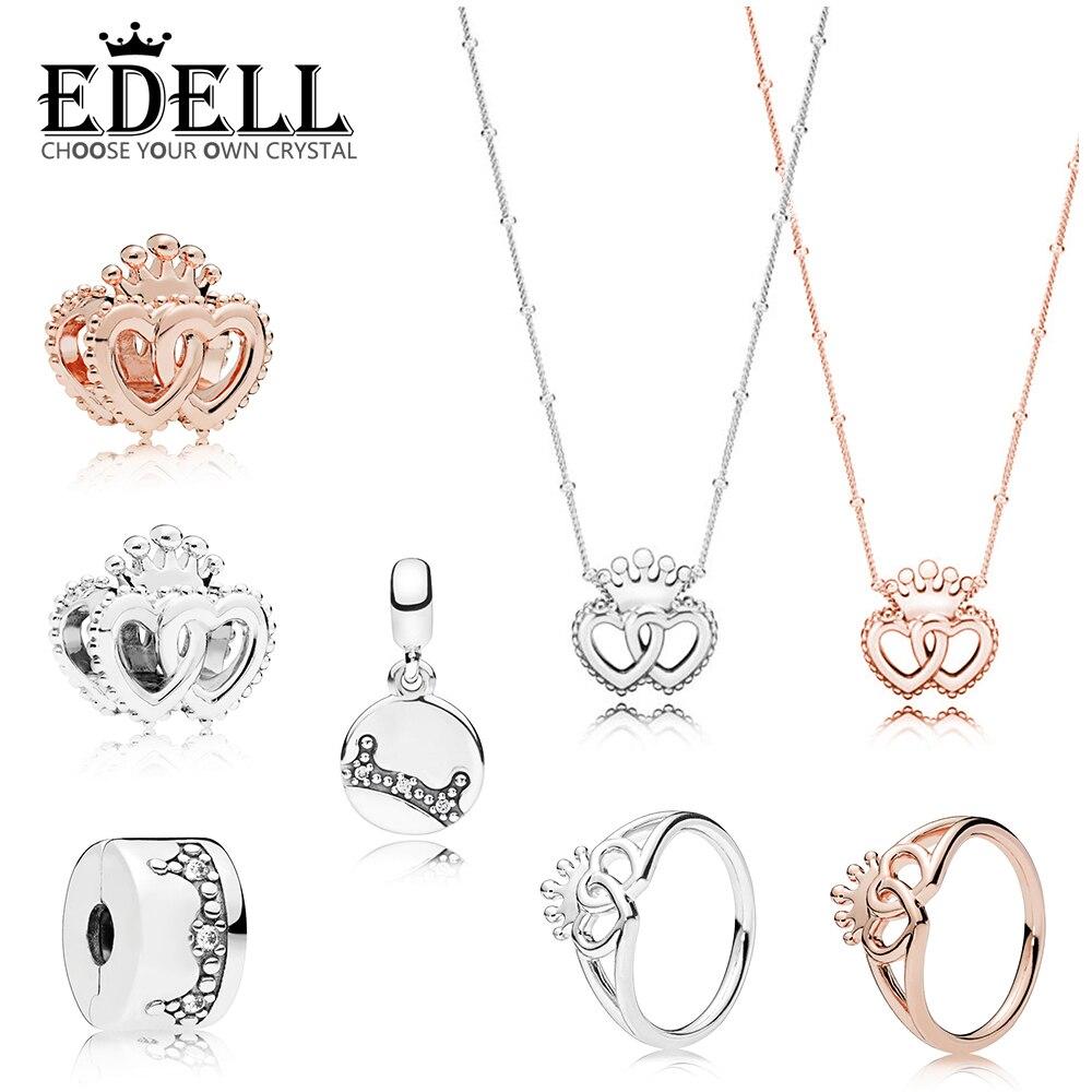 015843071ae2 EDELL 100% rosa de plata esterlina 925 entrelazados coronado corazones  anillo collar abalorios encanto deslumbrante corona esencia CLIP encanto