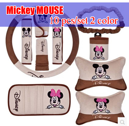 10 pcs set 2 color for Mickey MOUSE pattern car accessories car accessories decoration set handbrake