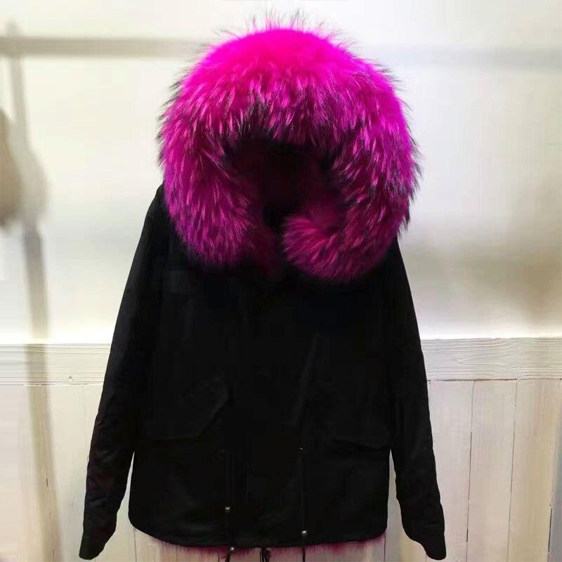 Beige Laveur Rose Col Couleur Cheveux Sexy Grand Raton Femmes Longue Nouveau 2017 Veste Renard Femelle Parka Belle Fourrure Rouge noir D'hiver De wpWnR5nq8