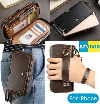 Purse Handbag Wallet Leather Bag For iPhone X 8 7 6 Plus Clutch Wristlet Waist Phone Bags Pouch Case iphone xs 財布