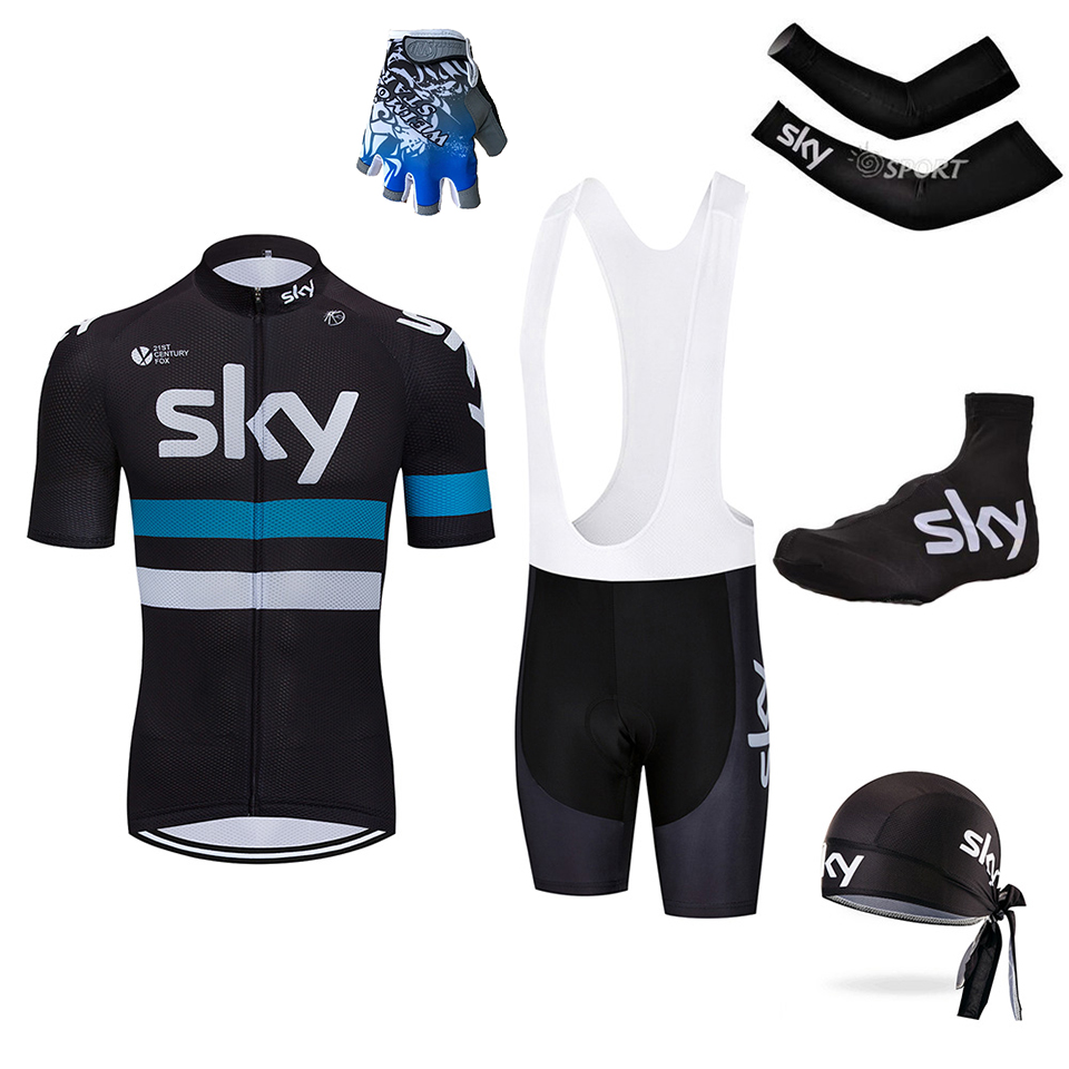 5pc Cycling jersey Sets Short Sleeve Summer Cycling Clothing Bike Clothes 2018 Pro Team 2018 sky Black Men's Cycling Jersey free shipping spartacus men top sleeve cycling jersey polyester bike clothes black breathable cycling clothing size s to 6xl