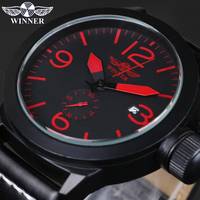 Automatic Mens Watches Business Classic Mechanical AUTO Date Day Leatherl Band Skeleton Self wind Wristwatch WINNER Watch