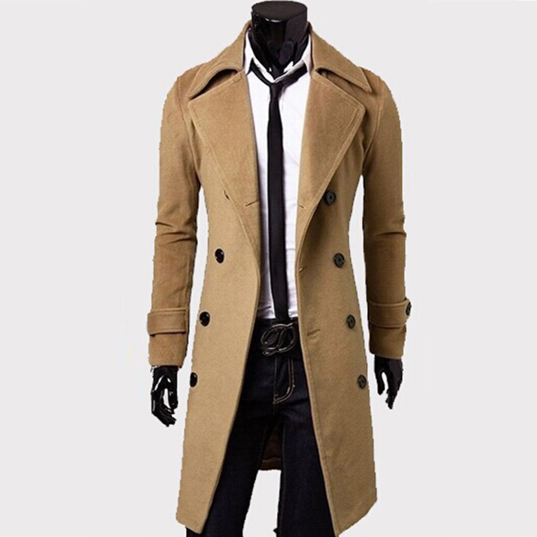 Xin yeah Coat Men Thick Casual Long Trench Wool Warm Single Breasted Slim