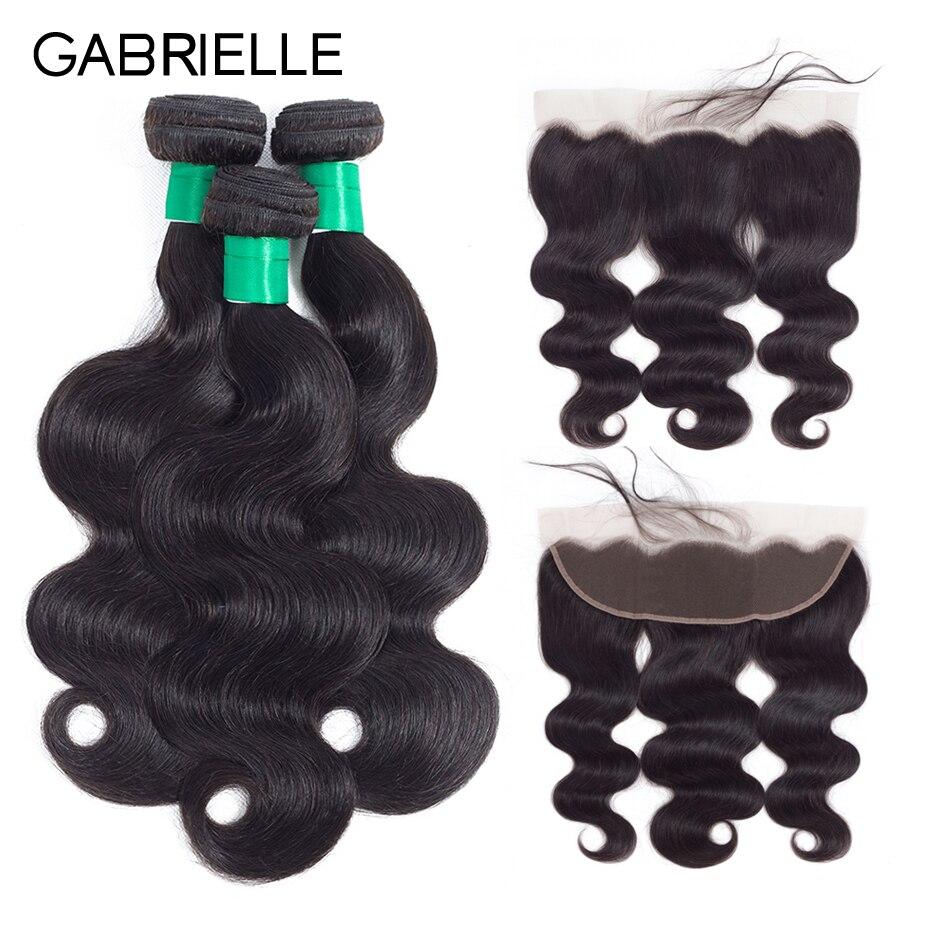 Gabrielle Human Hair Bundles With frontal Closure 3 Bundles Brazilian Body Wave Hair Weave Bundles With Lace Frontal Closure