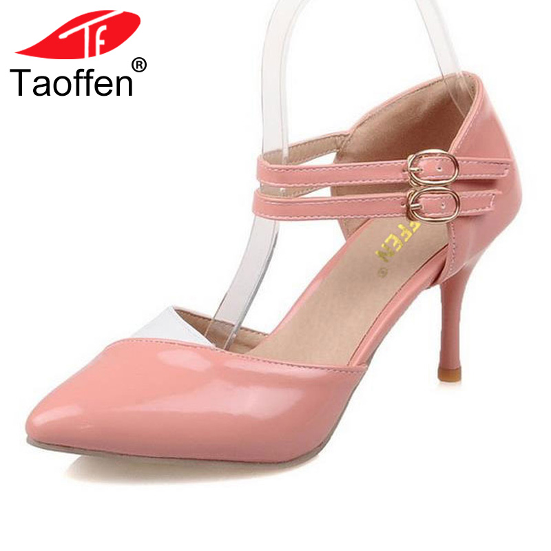 TAOFFEN Plus Size 30-48 Ankle Straps High Heels Women Sandals Summer Shoes Ladies Pointed Toe Patent Leather Wedding Women Shoes цена