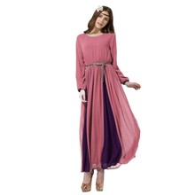 Elegant Women Long Chiffon Dress Vintage Kaftan Jilbab Islamic Muslim Abaya Cocktail Party Y6
