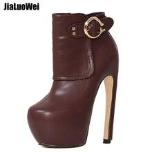 jialuowei Brand New Ankle Boots Side Zipper Buckle Strap Curve Heels Strange Style Platform Women Sexy 7 High Heel Unisex