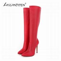 Womens Platform Matte High Heels Leather Knee Wide Leg Stretch Boots Winter Autumn Shoes US Size