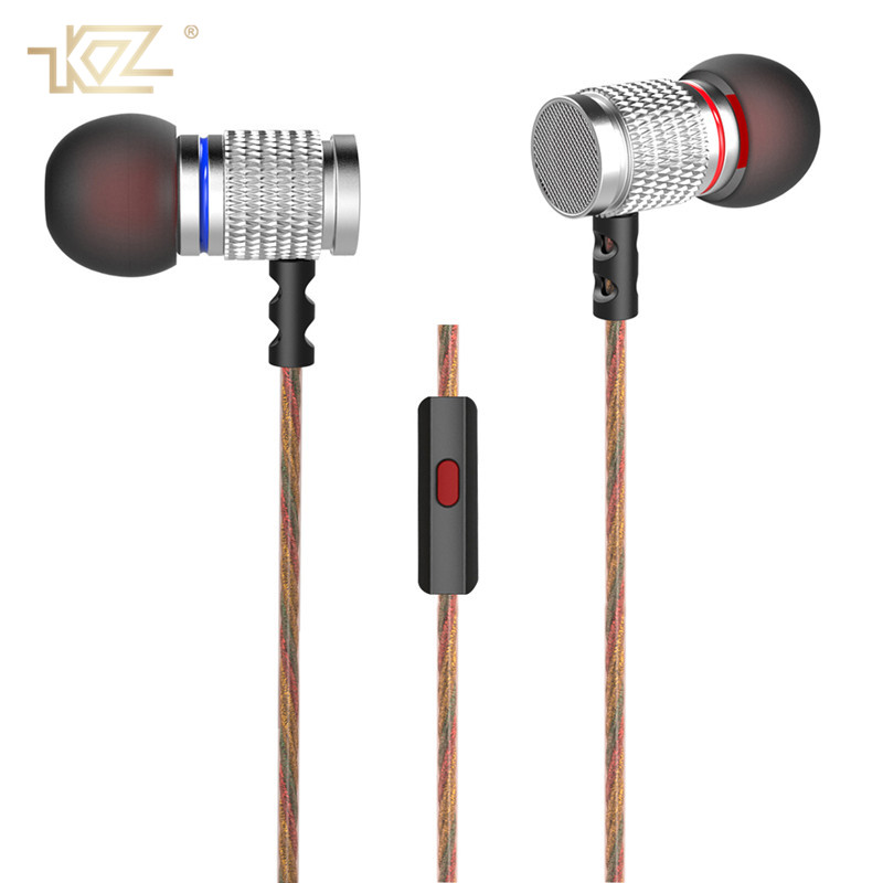 KZ Metal Earphones Music In-Ear Wired HiFi Headset 3.5mm Super Bass Sound Earbuds With Mic for IPhone Samsung Fone De Ouvido original kz rx earphones 3 5mm in ear fone de ouvido super bass earbuds noise cancelling in ear phones for smartphones