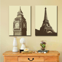Interior Walls Painted Canvas Big Ben And Eiffel Tower Europe Building Abstract Wall Decor Oil Painting