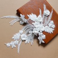 10Pcs 25 32cm High Grade 3D White Feather Embroidery Lace Flowers Bridal Wedding Handmade Materials Clothing