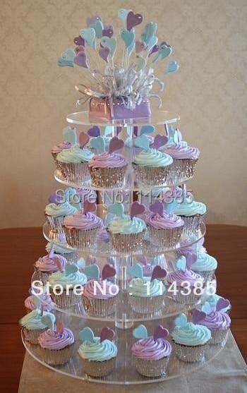 5 Tier Round Maypole Clear Acrylic Wedding Cupcake Stand