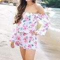 Sexy 2017 primavera verano mamelucos womens jumpsuit playsuits gasa del hombro de la manga flare floral print loose beach body