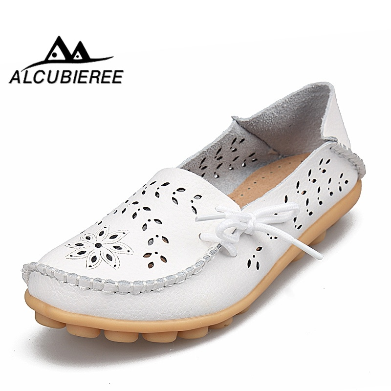 2019 Spring Women Flats Shoes Woman Genuine Leather Flats Ladies Shoes Female Cutout Slip On Ballet Flat Loafers Big Size 34-44(China)