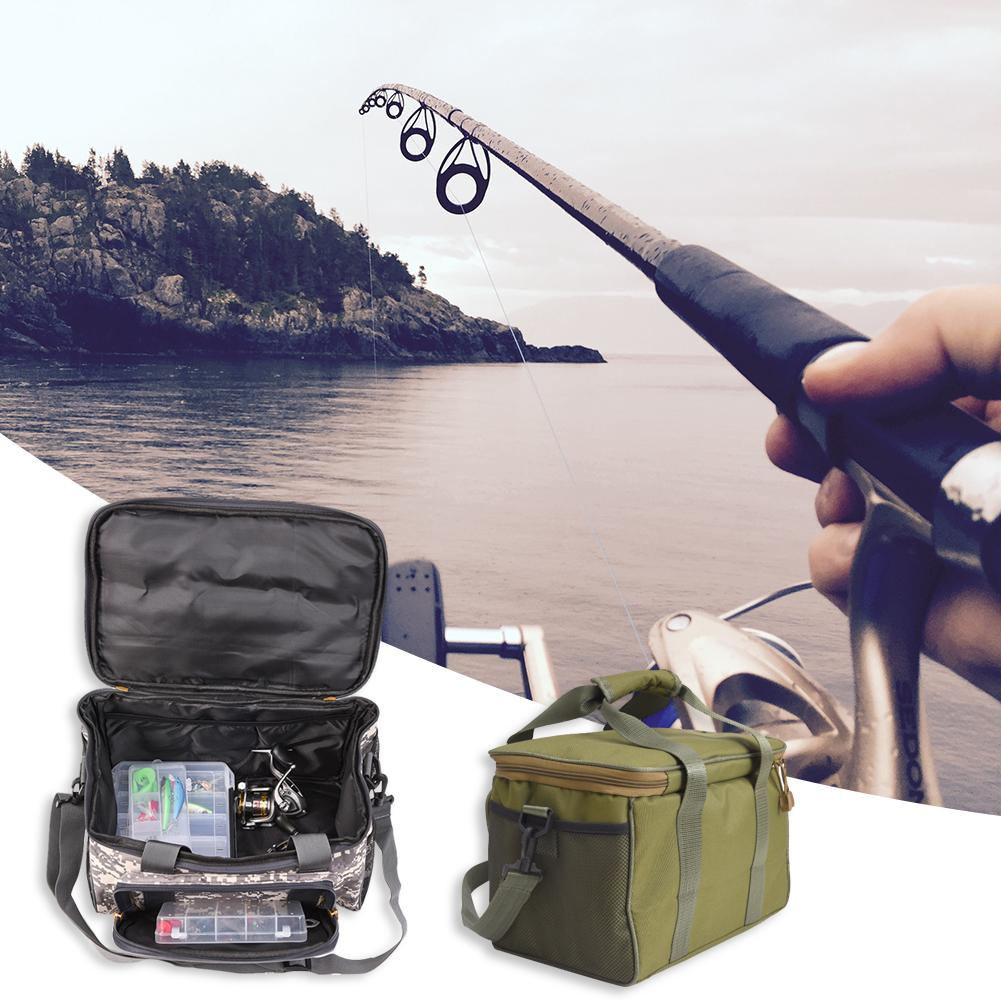 Multifunctional Fishing Bag Fishing Tackle Reel Lure Storage Shoulder Bag Square Fishing Reel Accessories Fishing Gear Bag Security & Protection