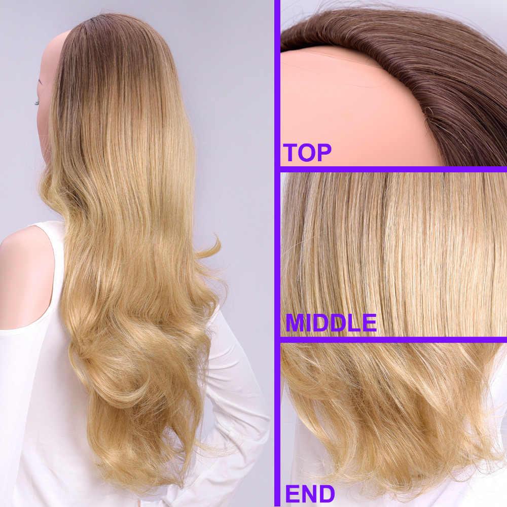 """DinDong 24 """"полупарики с зажимом для наращивания волос длинные волнистые волосы черные темно-светло-коричневые 3/4 синтетические парики термостойкие"""