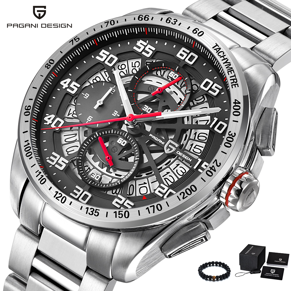 цена PAGANI Design Luxury Brand Man Watch Quartz Military Sport Watch Men Stainless Steel & Leather Big Dial Wrist Watches For Men