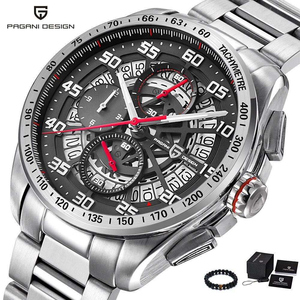 PAGANI Design de luxe marque homme montre Quartz militaire Sport montre hommes en acier inoxydable et en cuir grand cadran montres pour hommes