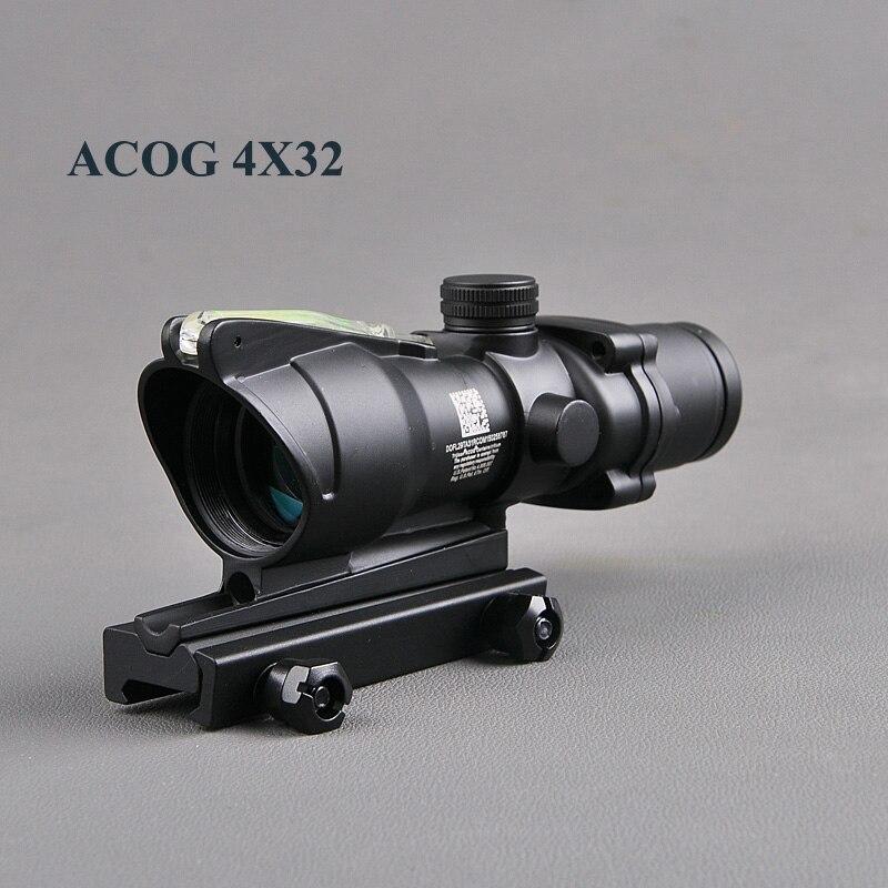 Hunting Bestsight ACOG 4X32 Scope Fiber Source Red Green Illuminated Optic Scope Tactical Riflescope Sniper Gear Outdoor Hunting цена