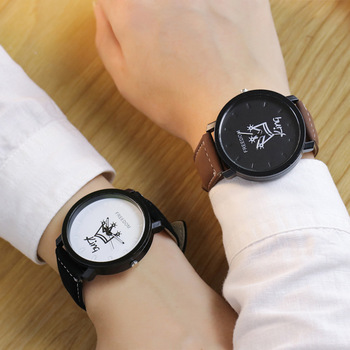 Couples Quartz  Watch King & Queen Leather 1