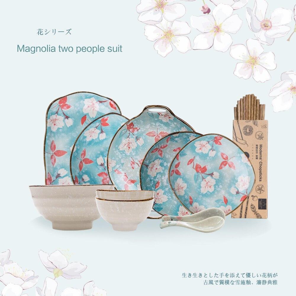 Série de fleurs de cerisier et de Magnolia | En céramique de style japonais, ensemble deux personnes, service de table, assiette bol de riz assiette occidentale