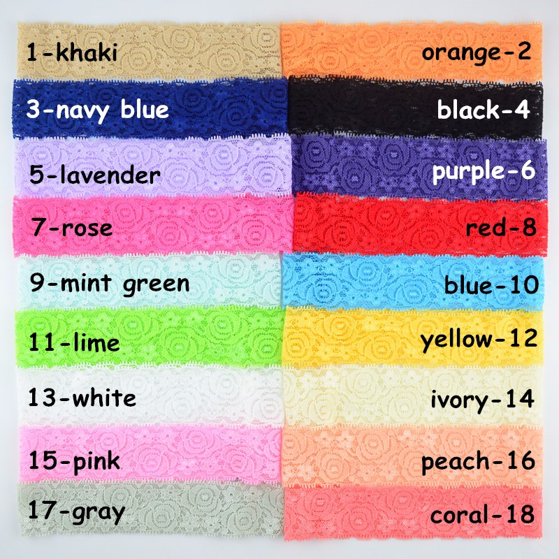 20pcs/lot 4cm Wide Elastic Lace Headband girls Stretch Hair Band DIY Accessories 18 Color U Pick Free Shipping HD08 цена