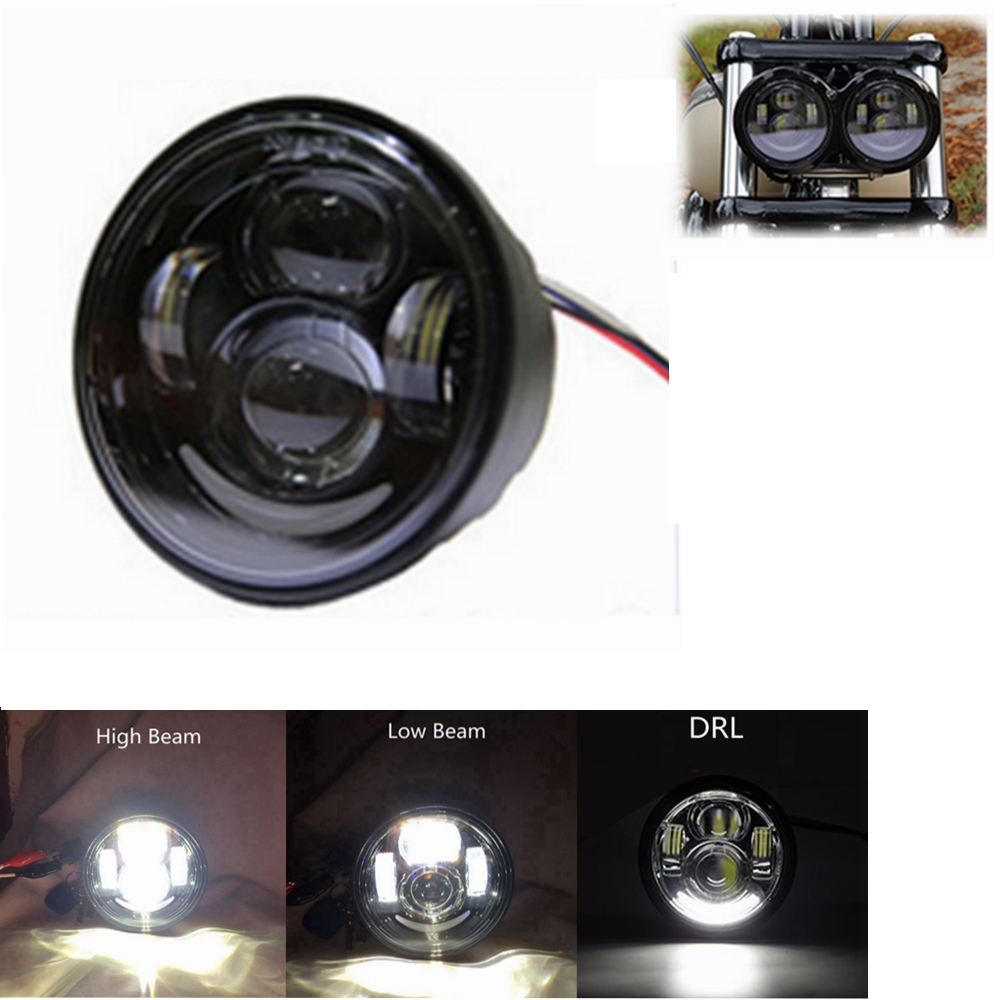 ФОТО New Daymaker LED Headlamps with Halo Ring DRL For Harley Dyna Fat Bob FXDF Model Daymaker LED Lamps 5'' Fat Bob Headlight