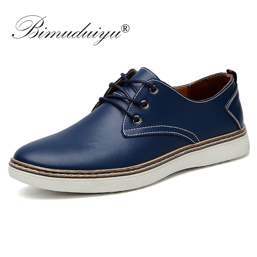 BIMUDUIYU Brand Mens Shoes Genuine Leather Comfortable Oxford Shoes Spring Autumn Business Fashion Men Casual Shoes Man Lace-up
