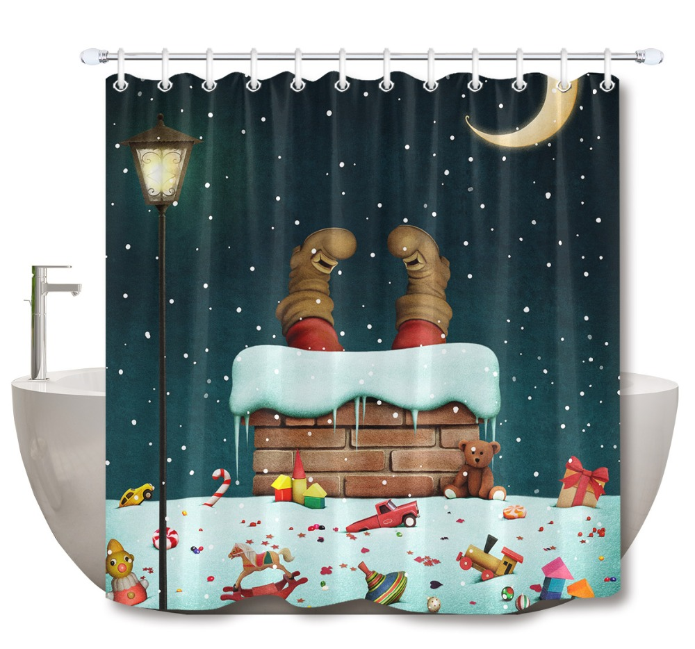 Christmas Shower Curtain.Us 13 21 39 Off Lb 3d Funny Fantasy With Snow Roof And Legs Of Santa Claus Christmas Shower Curtain Mat Bathroom Fabric For Bathtub Decor In Shower