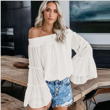 Summer Fashion Sexy Women Slash Neck Beach T-shirt Casual Boat Neck ladies Flare Sleeve T-Shirt Tunic Top female Tee shirt top scoop neck twist knotted tunic top