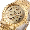 WINNER Men Luxury Mechanical Wrist Watch Stainless Steel Strap Fold Over Clasp Skeleton Movement Roman Number