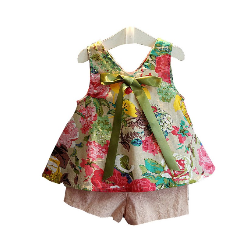 Children Clothing 2018 Girls Summer Clothing Sleeveless Floral Girls Suit And Shorts Two Piece Set Girls Clothing Sets 4-12y