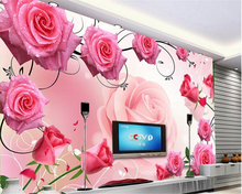 beibehang Romantic fashion high quality three-dimensional waterproof wallpaper rose glass 3D TV backdrop wall papel de parede