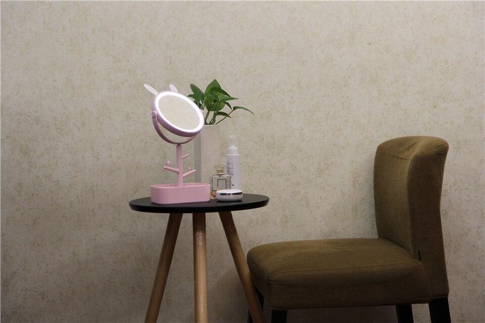Portátil LED Sensoriamento Iluminado Maquiagem Espelho Espelho