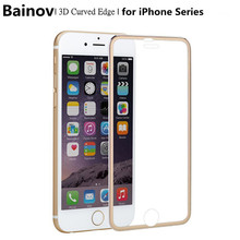 Bainov 3D Curved Titanium Edge Tempered Glass Full Cover For iPhone5 5s SE Protective Film Screen Protector For iPhone 6 6s Plus
