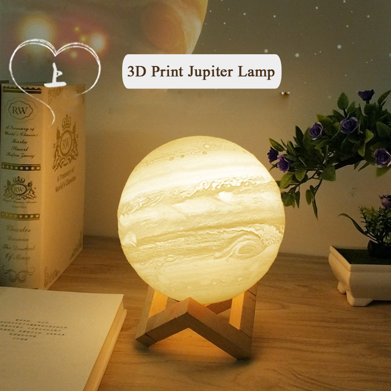 Led Lamps 3d Light Print Jupiter Lamp Earth Lamp Colorful Moon Lamp Rechargeable Change Touch Usb Led Night Light Home Decor Table Lamp