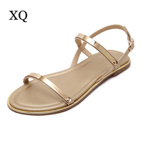 Women Sandals 2017 New Arrival Comfortable Ankle Strap Flat Casual Sandals Women High Quality PU Buckle