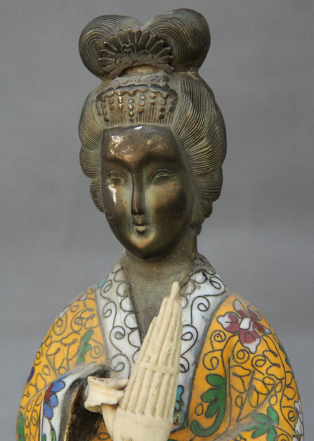 R0717 Detalles acerca de 12 Antiguo de China Cloisonne Cobre Soporte Palacio Estatua Belle Mujer Chica Musical B0403 - 2