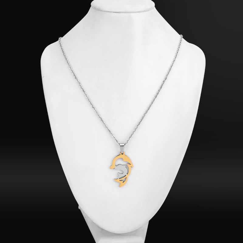 SOITIS Fashion elegancki damski naszyjnik delfin Sliver i złote wisiorki urok ze stali nierdzewnej śliczny delfin łańcuszek z wisiorkiem