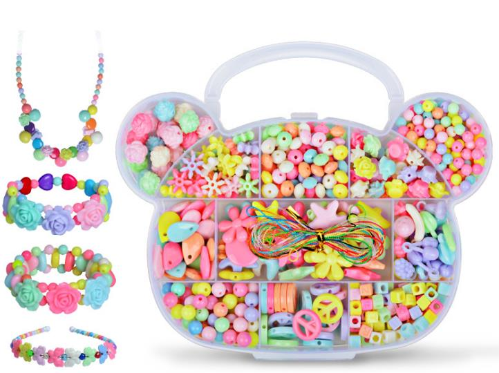 Beaded toys Plastic Acrylic Bead Kit DIY Toys Jewelry Making Kids Beads Creative Birthday Gifts for Girl