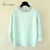2015 Autumn Winter Brand Design Beading O Neck Long Sleeve Knitted Sweaters Women Elegant Casual Pullovers